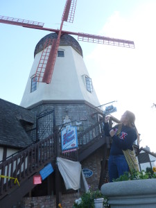 Jousting with windmills in Solvang, CA