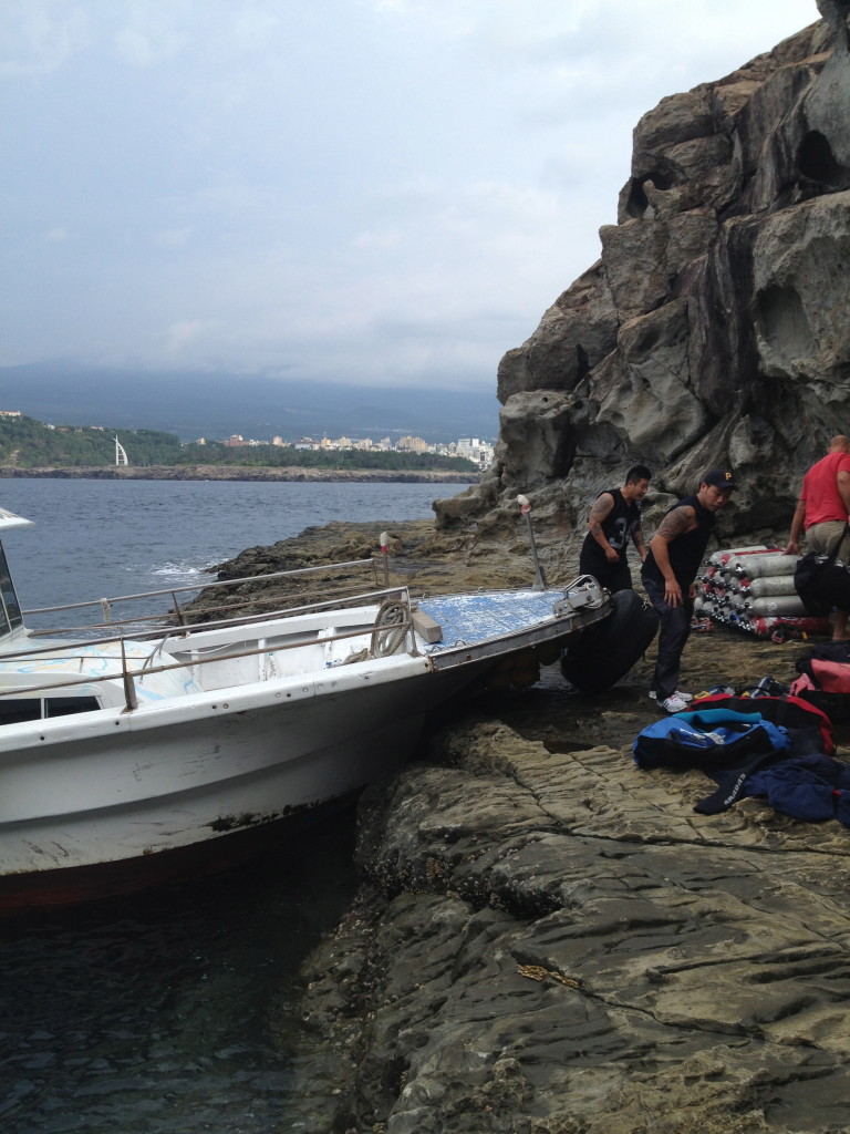Unloading gear from the boat
