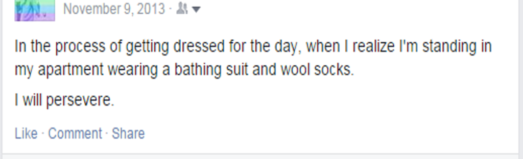 Screenshot of Facebook status: bathing suit and wool socks