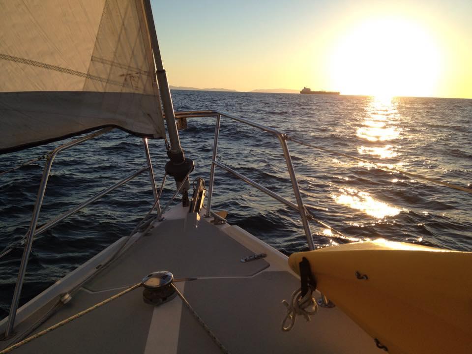 Sailing towards Catalina Island