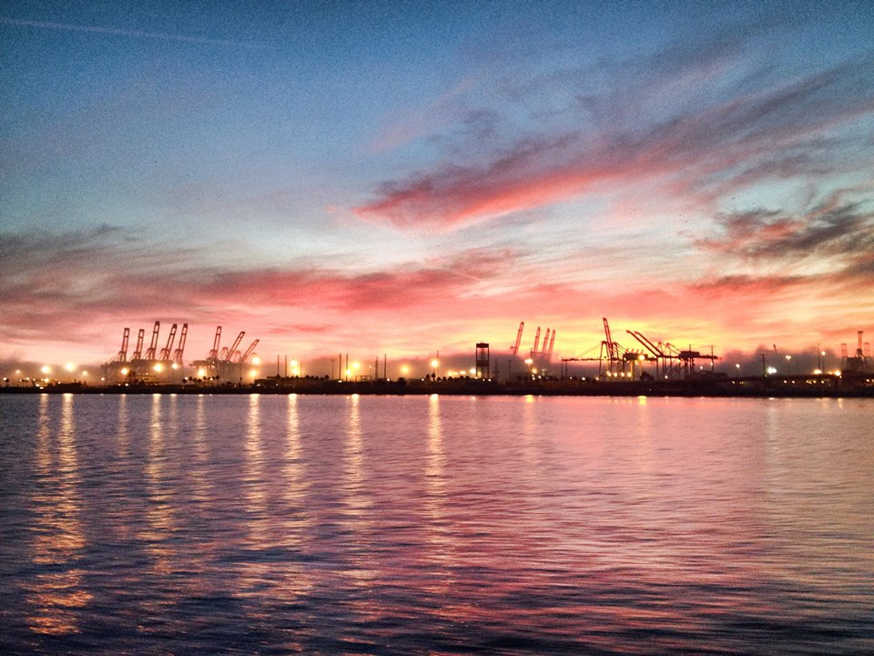 Long Beach Port at Sunset